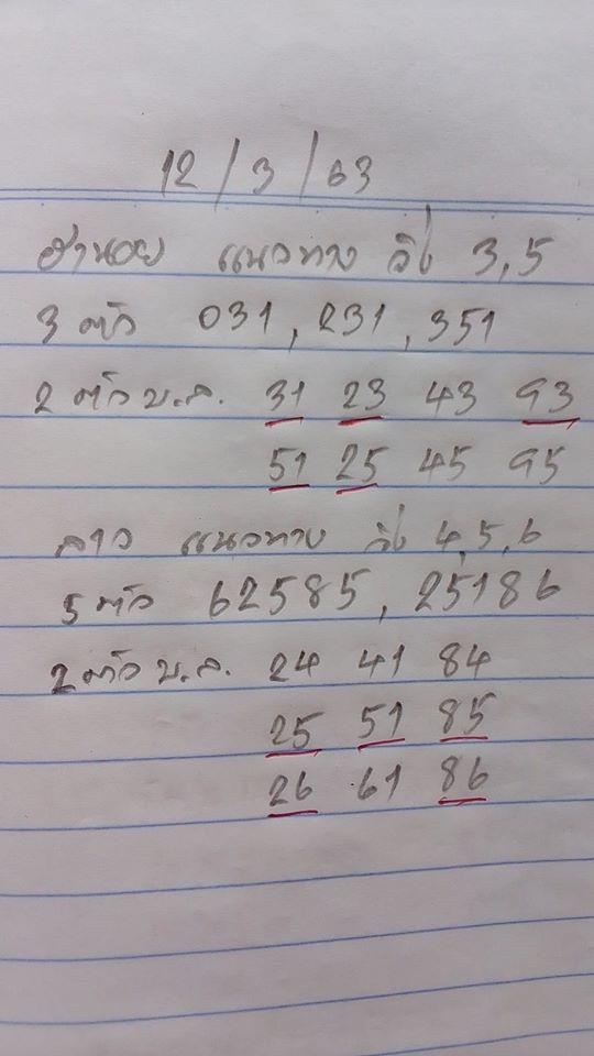 หวยฮานอย 12/3/63 ชุด5