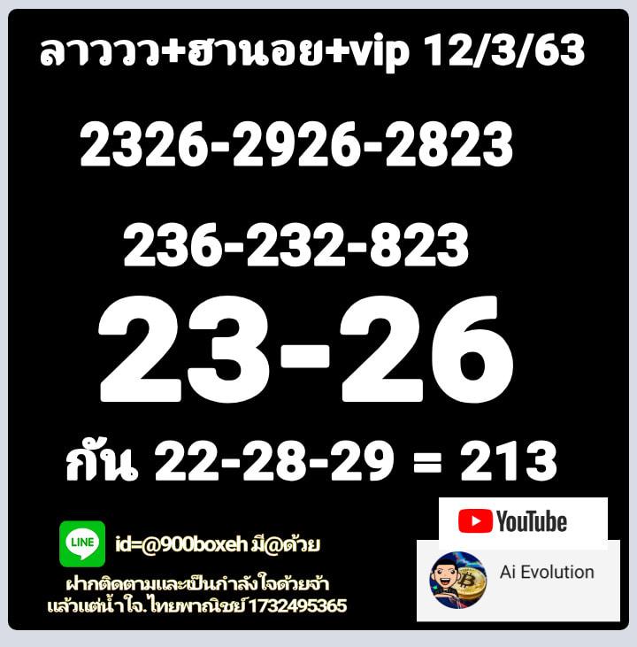 หวยฮานอย 12/3/63 ชุด9