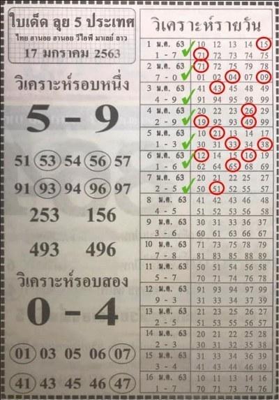หวยฮานอย 17/1/63 ชุด2