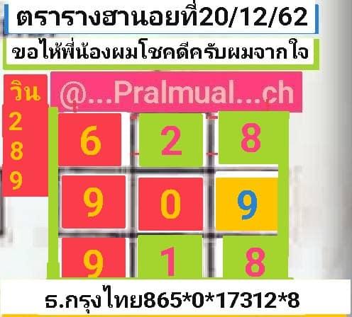 หวยฮานอย 20/12/62 ชุด19