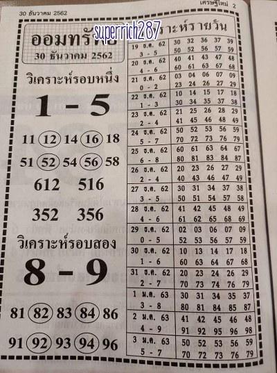 หวยฮานอย 30/12/62 ชุดที่1