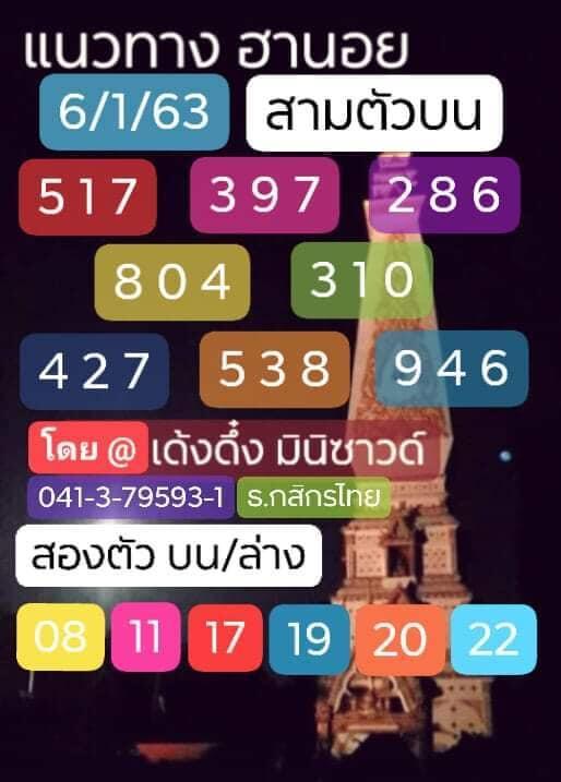 หวยฮานอย 6/1/63 ชุด8
