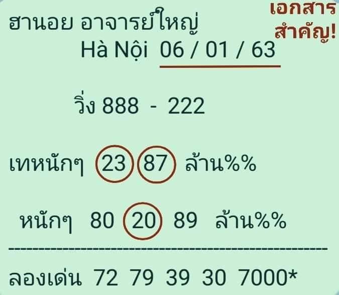 หวยฮานอย 6/1/63 ชุด9