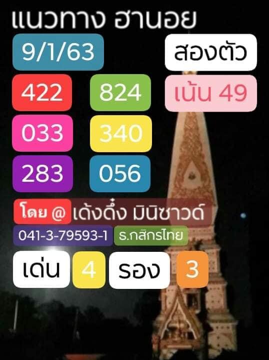 หวยฮานอย 9/1/63 ชุด14
