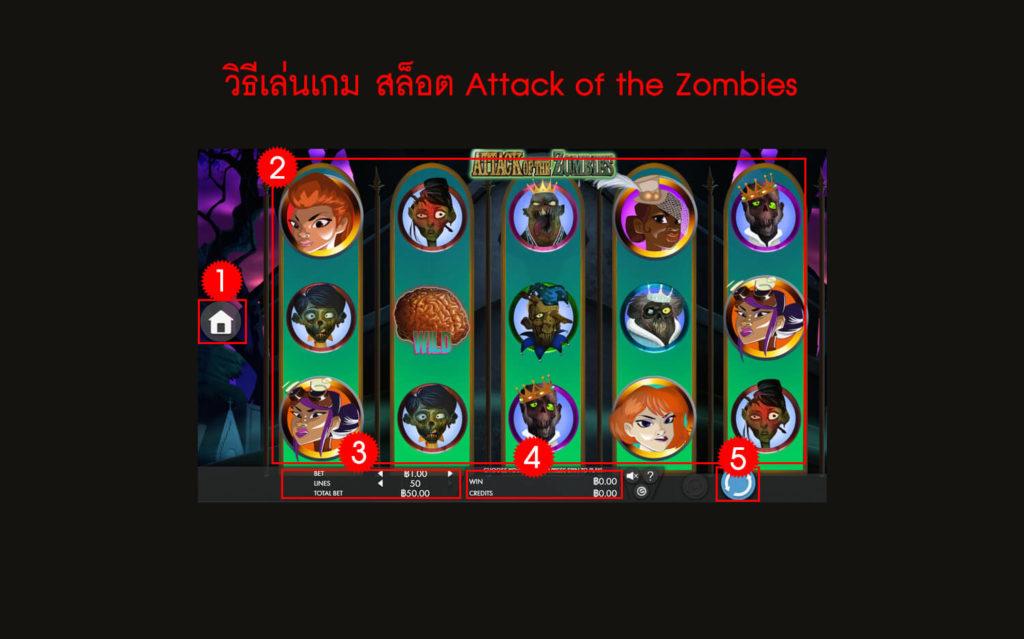 กฎกติกาวิธีเล่นสล็อต Attack of the Zombies