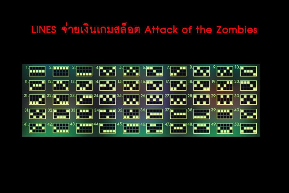 เส้นไลน์วางเดิมพัน Golden Attack of the Zombies Slot