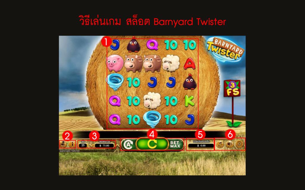 กฎกติกา วิธีเล่นเกมสล็อต Barnyard Twister Slot