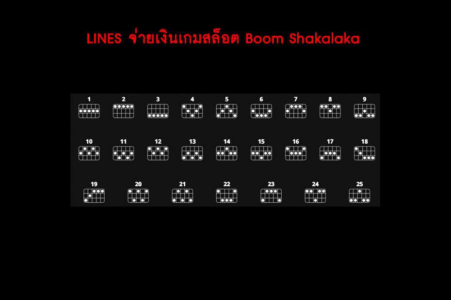 เส้นไลน์วางเดิมพันเกม Golden Boom Shakalaka Slot
