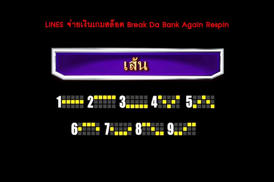 เส้นไลน์วางเดิมพัน Golden Break Da Bank Again Respin Slot