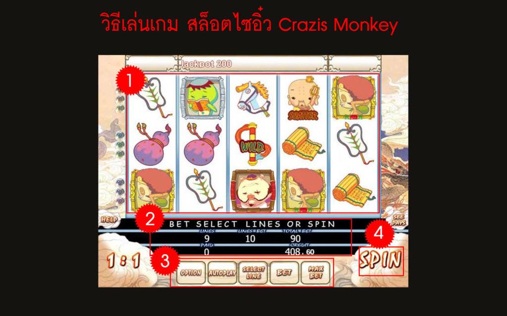 วิธีเล่นเกม สล็อตไซอิ๋ว Crazis Monkey