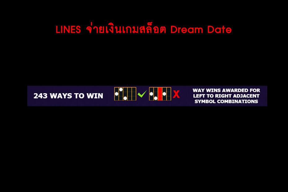 เส้นไลน์วางเดิมพันของเกม Golden Dream Date Slot