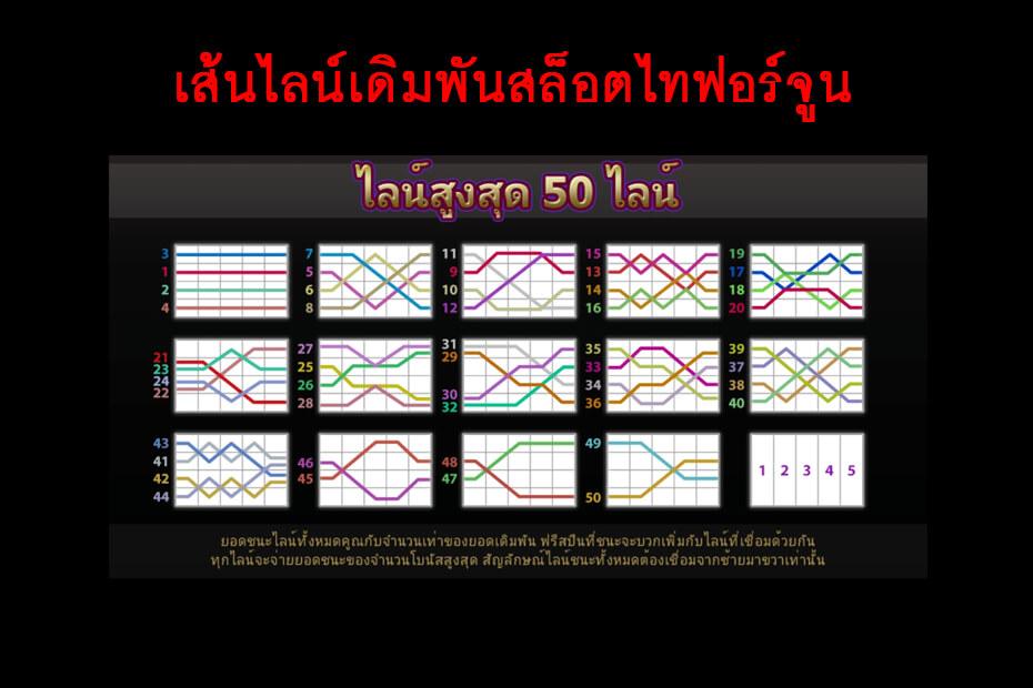 เส้นไลน์ของเกมจีคลับสล็อต ไทฟอร์จูน Fortune Thai