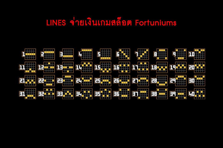 เส้นไลน์วางเดิมพัน Golden Fortuniums Slot