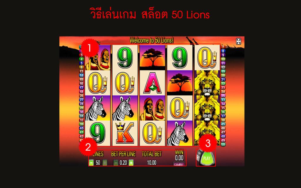 กฎกติกา วิธีเล่นเกม สล็อต 50 Lions