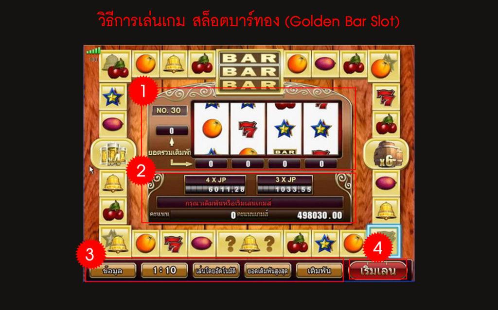 วิธีการเล่นเกม สล็อตบาร์ทอง (Golden Bar Slot)