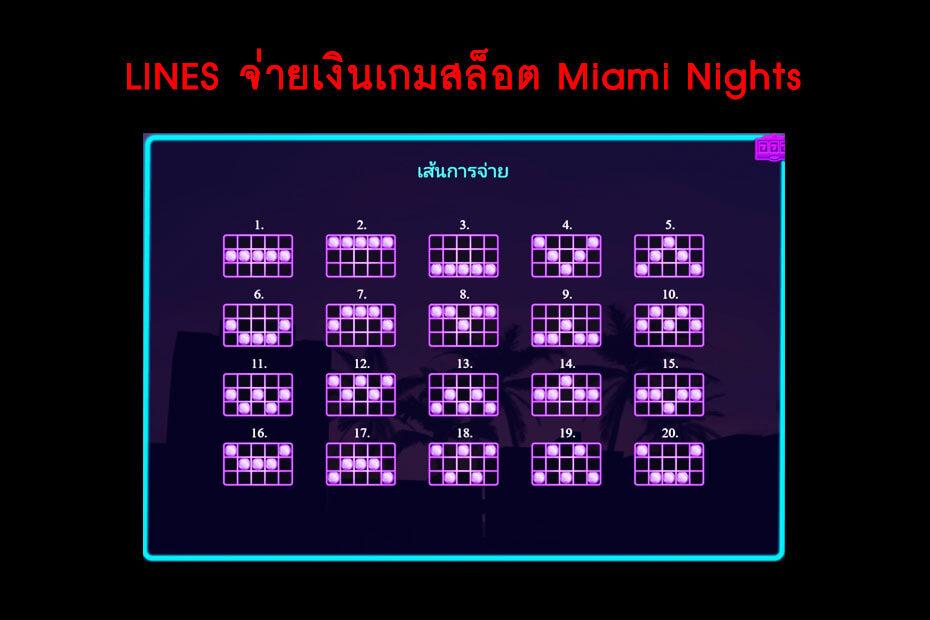 เส้นไลน์วางเดิมพันของ Golden Miami Nights Slot