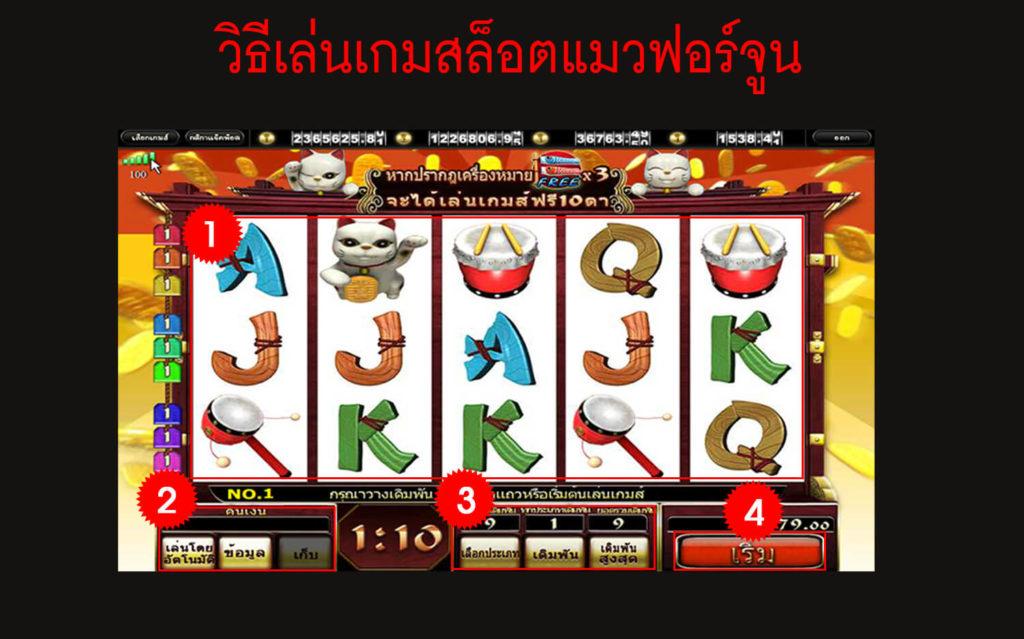 วิธีเล่นเกม สล็อตแมวฟอร์จูน (Money Cat)
