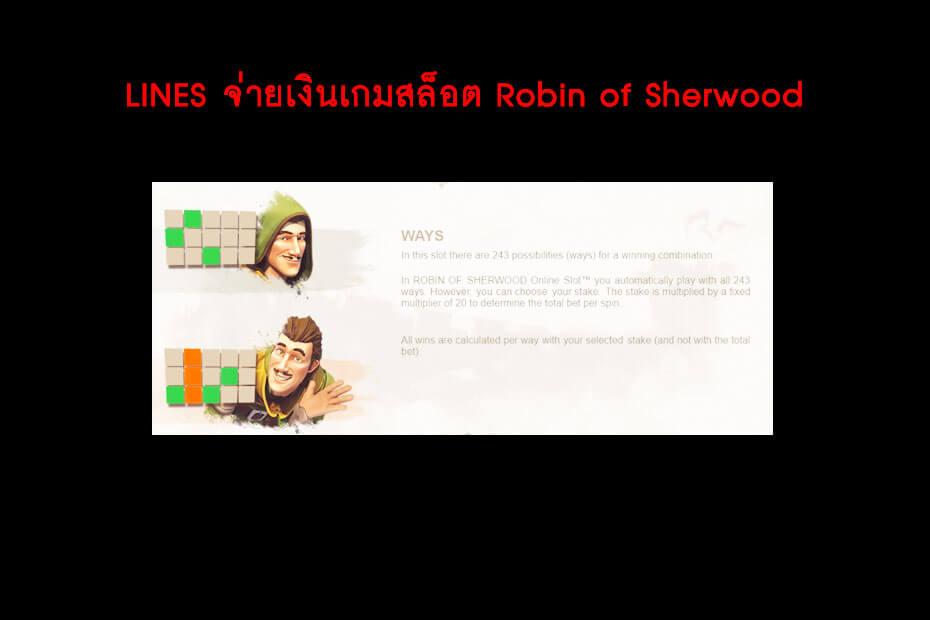 เส้นไลน์วางเดิมพัน Golden Robin of Sherwood Slot