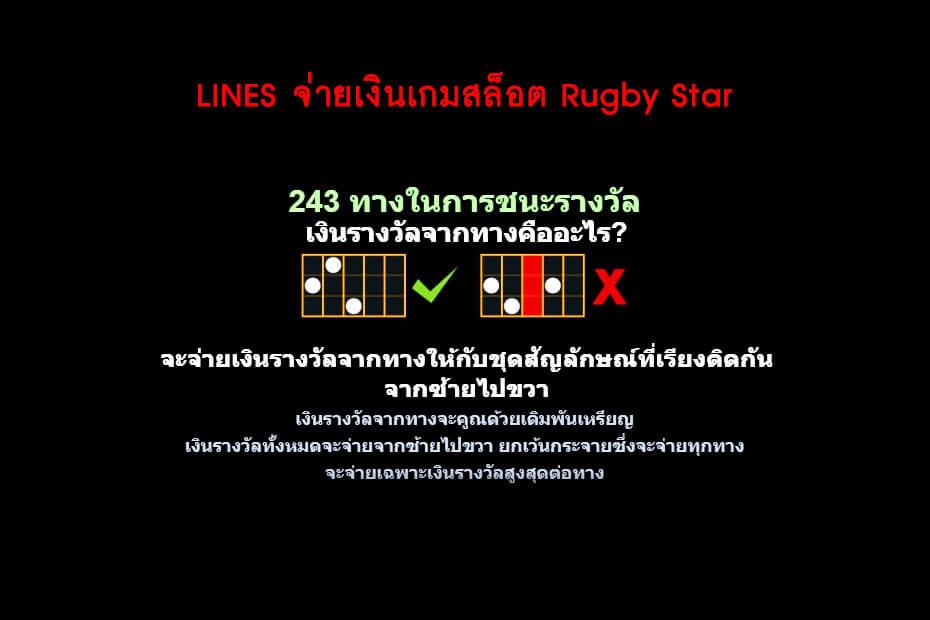 เส้นไลน์เดิมพัน Golden Rugby Star Slot